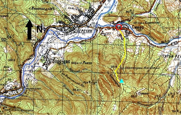 Карта Симер - Хребет Санаториа