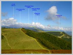 Часть маршрута от г.Кук к г.Великий Верх по хребту Полонина Боржава
