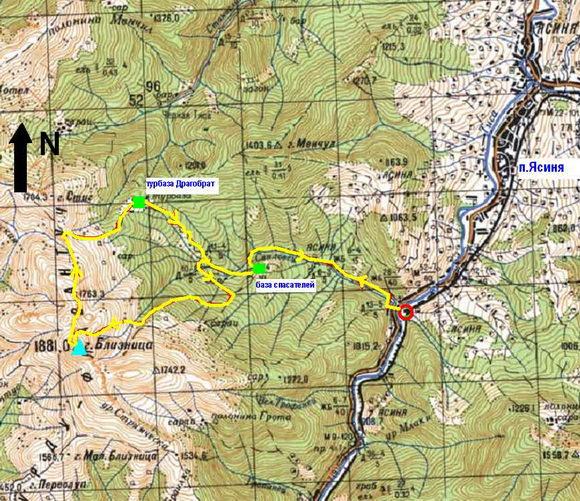 Карта Драгобрат - Близница