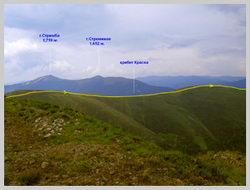 Выход на хребет Красна (1,470 м.н.у.м.). Направление на Усть Черную