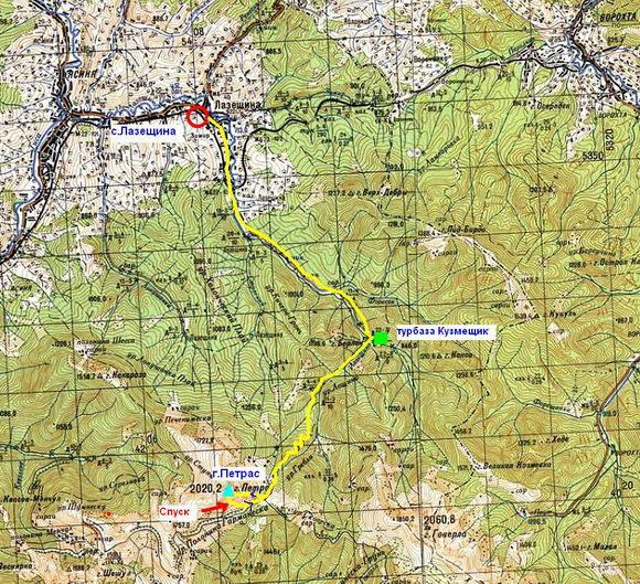 Карта лазещина - петрос