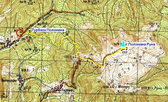 Карта Лумшоры - Полонина Руна