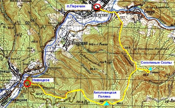 Карта Невицкий - Санаториа - Перечин