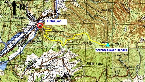 Карта Невицкое - Анталовецкая Поляна
