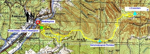 Карта Невицкое - Соколиные скалы