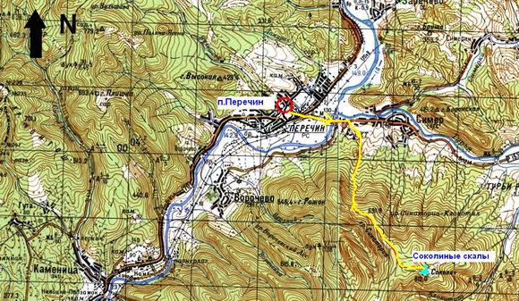Карта Перечин - Соколиные скалы
