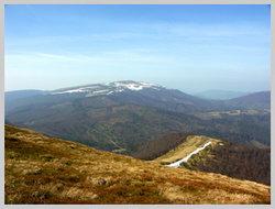 Заснеженый северный склон горы Полонина Руна (апрель)