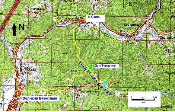 Карта Соль - Хребет Яворник