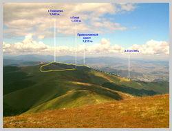 Вершины гор Темнатик , Плай и часть маршрута п.Воловец – г.Темнатик
