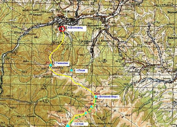 Карта Воловец - Темнатик - Стой